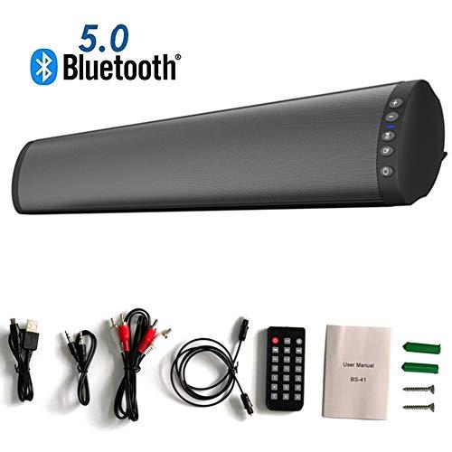 An der Wand montierbare Stereo-Soundbar für Fernseher, 2019 aktualisierte Version, kabelgebundene und kabellose Bluetooth 5.0-Audio-Lautsprecher mit starkem Bass, 20 Watt und 22 Zoll Soundbar