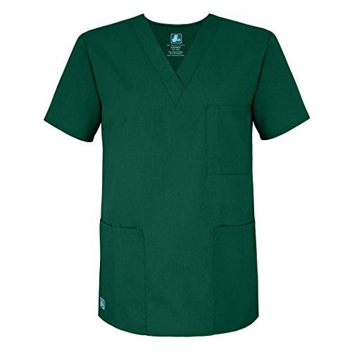 Adar Universal Unisex Scrubs - V-Neck Tunic Scrub Top - 601 - Hunter Green - S