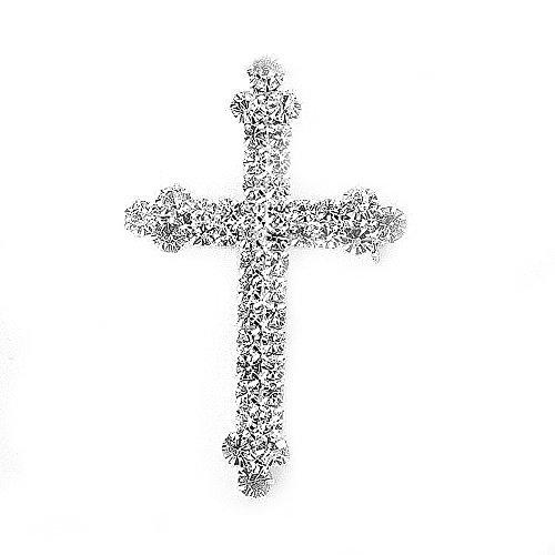 Klaritta Distinctive Sparkly Silver & Rhinestones Cross Faith Diamante Brooch Pin BR218