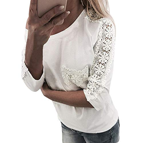 Longra damesblouse, T-shirt, blouse, kant, zomer, casual, elegant, top, dames, drie quart, overhemd, lange mouwen, van kant, casual, hol.