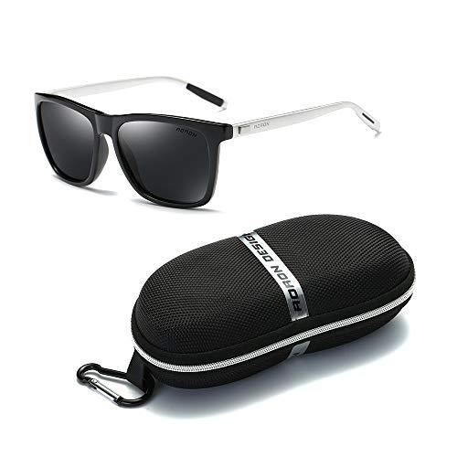 Gobesty Retro gepolariseerde zonnebril voor mannen vrouwen, zonnebril UV400 bescherming met hoesje voor rijden buiten bril, blauw