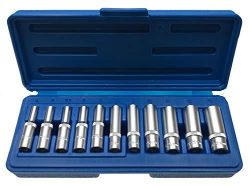 """Lange 12-KANT/Zwölfkant Vielzahn (Doppel-Sechskant/Doppel-6-kant) Steckschlüsseleinsätze Schraubenschlüssel Stecknuss 1/4\"""" 4-13 mm - Chrom-Vanadium-Stahl - 11-tlg. Inkl. robuste Kunststoffbox"""