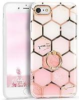 Imikoko iPhone SE ケース [第2世代] / iPhone 8 / iPhone7 リングケース キラキラ 大理石 メッキバンパー レンズ特別保護 二重構造 バンパー メタルスタンド 新型 女性向け おしゃれ かわいい 純正 PC+TPU (iPhone7/8/SE2020 ライトピンク)