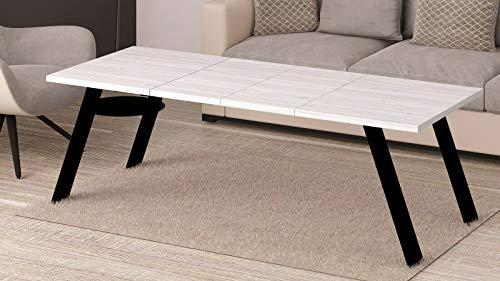Endo-Möbel, Mido 140, salontafel, industrieel metalen frame, woonkamertafel, 110 cm, 140 cm Eiken Sibiu lariks licht