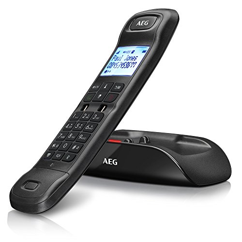 """AEG Tongoo 15 - Schnurloses 1.6\"""" Design DECT-Telefon mit Freisprecheinrichtung, Anrufbeantworter und Anruf Blocker, Schwarz"""