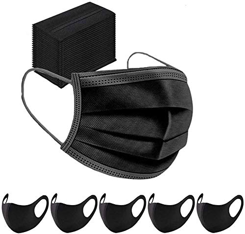 100PCS Mundschutz Maske Schutzmaske + 5 Mund und Nasenschutz Waschbar Staubschutzmaske Wiederverwendbar Atmungsaktiv Mundschutz Winddicht Unisex Halstuch
