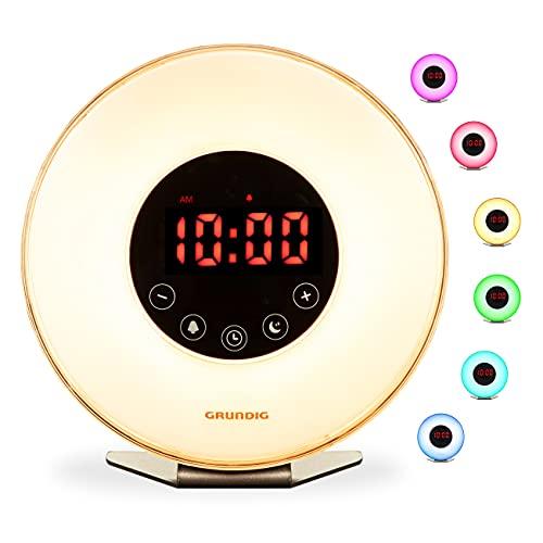 GRUNDIG Radio-réveil avec Simulation de l'aube et lumière d'ambiance avec différentes Couleurs à LED, Multicolore, Moyen