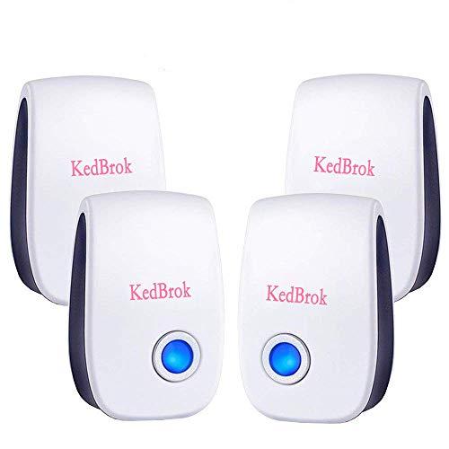 KedBrok Antizanzare Ultrasuoni Repellente Ultrasuoni, Ultrasuoni per Topi Dispositivo Anti Topi, Zanzare, Insetti, Scarafaggi, Ratti, Formiche, Ragni, Confezione da 4