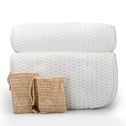 TIBERIA Premium Badewannenkissen mit Haken zum Aufhängen - Wellness Badekissen aus 4D-Air-Mesh & 9 starken Saugnäpfen - inkl. 2 Seifensäckchen