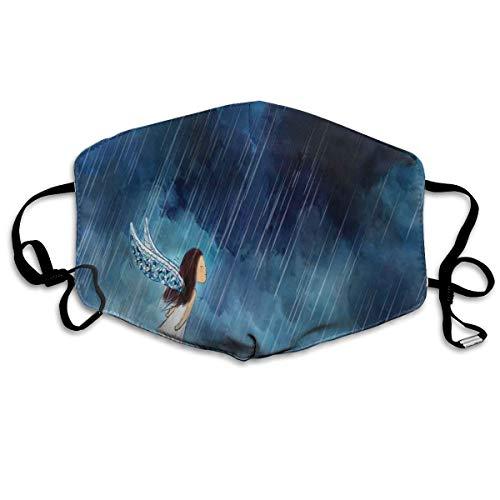 Little Girl vliegen tegen de storm wolken in regenachtige nacht dappere conceptPrinting veiligheid Mond Cover voor volwassenen