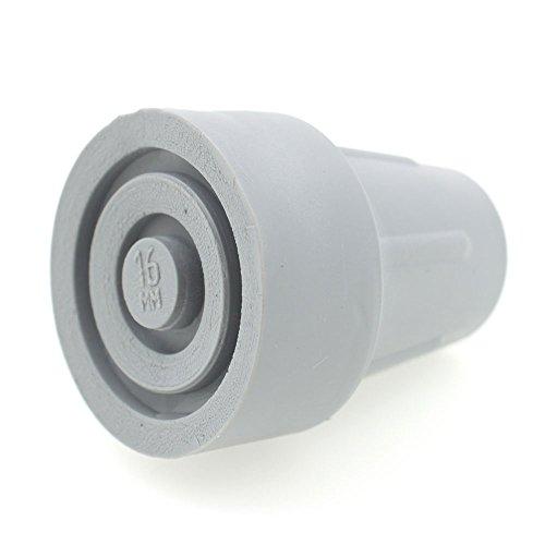 2 Piezas - Virolas de Goma - Varios Tamaños Disponibles - Para Muletas Bastones Andadores Marcos Para Caminar (16mm, Gris)