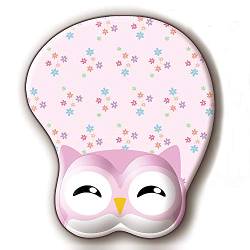 Owl Animal 3D Mouse Pad Soft Gel Mouse Pad with Wrist Support Ergonomic Mouse Mat for PC Mac Girl Gift (Rose Pink)