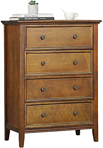 Kommode mit 4 Schubladen, Kommode aus Massivholz mit großem Stauraum, Organisator für Lagerturmkleidung, für großen Schrank, Schlafzimmer, Wohnzimmerc (Vintage)