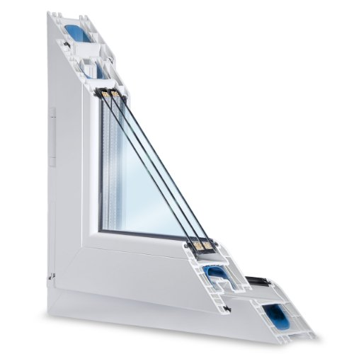 Fenster weiss 3-fach verglast 98x80 (BxH) kipp- und drehbar (DK-Rechts) als Maßanfertigung