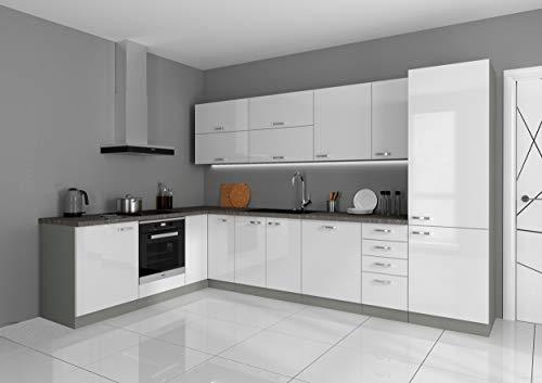 Küche Bianca Ecke I 210x330 cm Küchenzeile in Hochglanz weiß Küchenblock