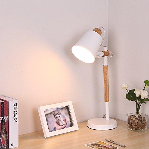 Lampe de table en bois scandinave réglable en fer forgé - Lampe de bureau pour enfant - E27 (non incluse) - Blanc