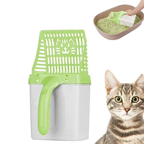 Shulishishop Pelle à Litière pour Chat Pelle a Litiere Chat Poop Scoop Cat Litter Cat Litter Scoop with Stand Cat Scooper Litter Tray Scoop Plastic Litter Scoop Green