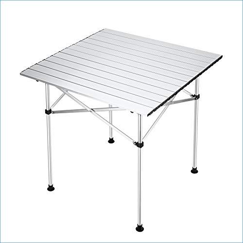 Synlyn Tragbarer Klapptisch Aluminium Campingtisch Klappbarer Falttisch Gartentisch 70x70cm Picknicktisch Outdoor Tisch Ultra Leichte Beistelltisch für Camping im Freien Picknick Angeln
