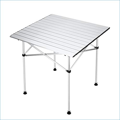 Synlyn Aluminium Klapptisch Campingtisch Tragbar Falttisch mit Tischplatte Gartentisch 70x70cm Picknicktisch Klappbar Tisch Ultra Leichte Beistelltisch für Camping im Freien Picknick Angeln