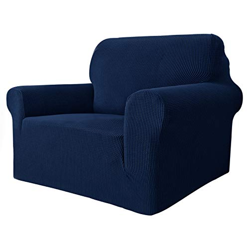 MAXIJIN Super Stretch Chair Covers for Living Room, 1-Piece Universal Chair Slipcover with Arms Jacquard Spandex Chair Protector Dogs Pet Friendly Sofa Couch Armchair Cover (1 Seater, Navy Blue)