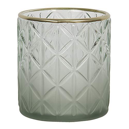 Clayre & Eef Glazen Theelichthouder 6GL2918S Ø 7 * 8 cm - Groen Glas Waxinelichthouder Windlichthouder