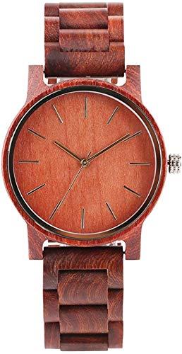 Reloj de Madera Hecho a Mano para Hombre - Reloj Duradero de sándalo Rojo con Puntero Dorado para Mujer