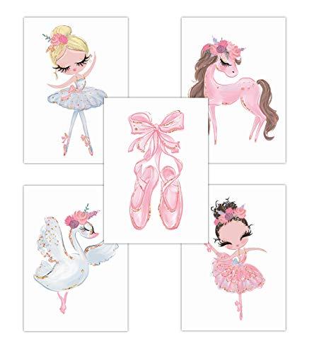 Pandawal Kinderzimmer deko Mädchen Wandbilder Ballerina Schwan/Pferd Rosa Bilder 5er Poster Set (T7) im DIN A4 Format