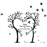 Home Find (Black 39.4 inches x 35.4 inches) Love Tree and Birds with Inspiring Quotes Family Where Life Begins and Love Never Ends Wall Stickers Inspirational Lettering Wall Decals Living Room Decor