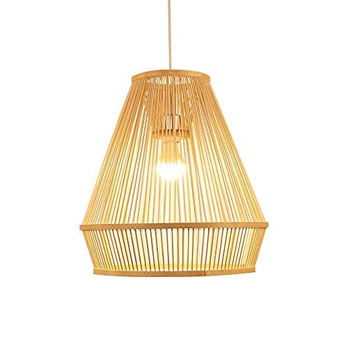 wangch Lámpara Colgante De Bambú,lámpara Colgante De Rama De Mimbre Y Ratán,Pantalla De Bambú,lámpara De Araña Decorativa para Restaurantes,Bares Y Villas,lámpara Colgante E27 De Un Solo Cabezal