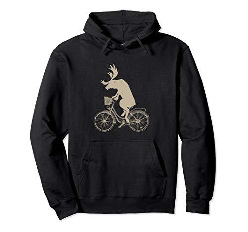Lustige Elche auf Fahrrädern Geschenk Fun Pullover Hoodie