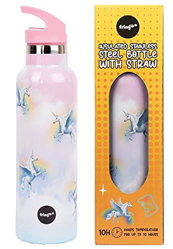 Fringoo - Botella de Agua con Pajita Unicornio Cielo - Botellas de Agua Grandes Libres de BPA - Botella de Agua Aislada - Botella de Agua de Acero Inoxidable - Botellas de Agua para Niñas - 60