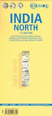 India del Norte laminado hoja de ruta 1:3 000 000 BORCH