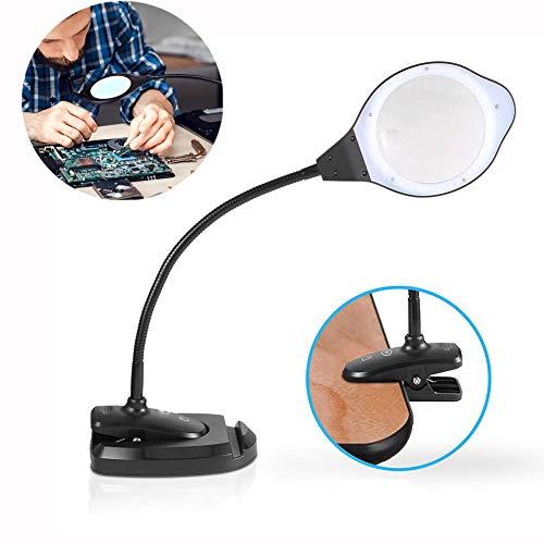 Nicekko 2-in-1 vergrootglas tafellamp & leeslamp met universele klem, vergrootglas met licht voor nauwe werkbank, handwerk, hobby, naaien, reparatie