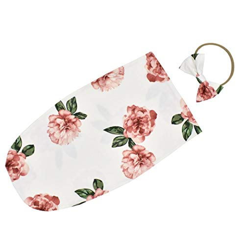 liwei18 Girls Casual Cute Print Bow Shape Headband Swaddles Wrap Towel Set Blankets & Swaddling