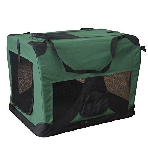 TIGGO Hundetransportbox Hundebox faltbar Transportbox Autotransportbox Faltbox Transportasche 601-D03 Farbe: grün, Grösse: XL - 81cm x 58cm x 58cm