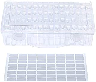 Roloiki Clear Plastic Diamond Storage Box With Handle 64 Pack Diamond Embroidery Painting Accessory Tool Drill Jewelry Bea...