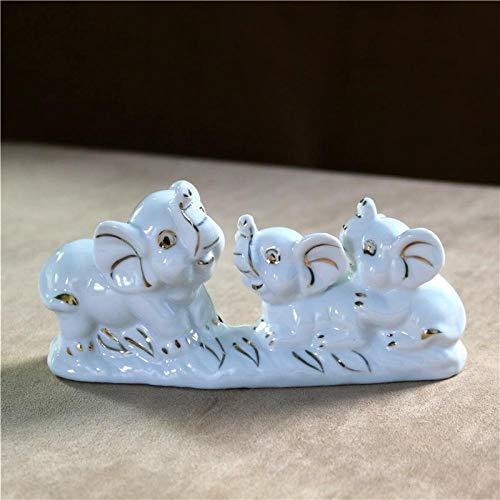 LOSAYM Regalo Estatua Escultura Elefante De Porcelana Figura De Madre Cerámica Dorada Niño Elefante Miniatura Gemelos Ornamento Artesanía Decoración Regalo del Día De La Madre para Papá