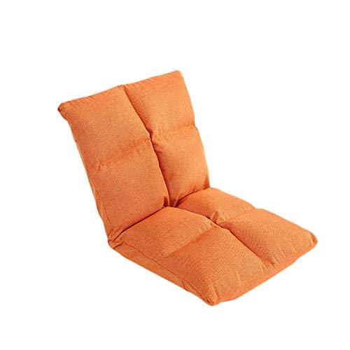 LIXIONG Silla de Suelo, SillóN Reclinable de Piso con 5 áNgulos Ajustables Silla de Respaldo Plegable, Funda Lavable para Leer Ver MeditacióN (Color : Orange)