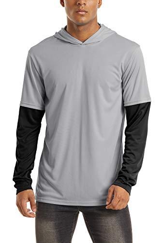 TACVASEN Men's UPF 50+ Sun Protection Hoodie Long Sleeve Running Performance T-Shirt, Light Grey, S