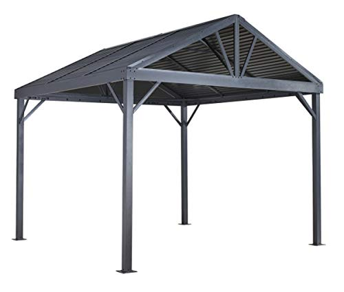 Sojag 10' x 10' Sanibel I Hardtop Gazebo Outdoor Sun Shelter, Light Grey