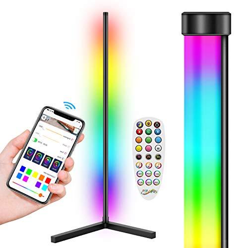 LYMIUS Lámpara de pie LED, Lámpara de pie De esquina RGB Cambio de Color con Control de APP, Luz de Pie para Sala de estar, Dormitorio, TV, Juegos -- 156cm Alto