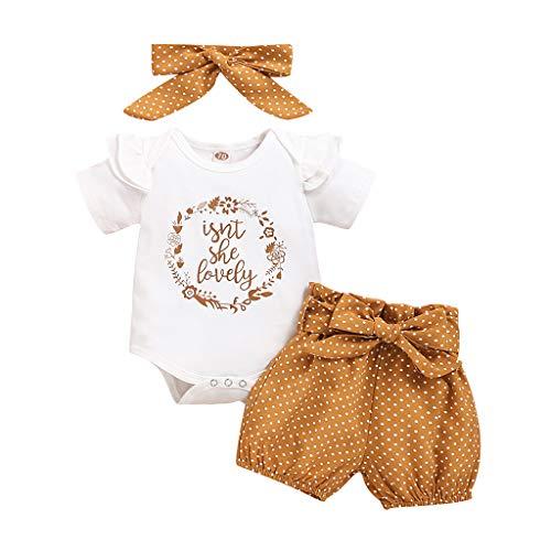 YEBIRAL Babykleidung Set Baby Mädchen Kleidung Kurzarm Body Strampler + Hose + Stirnband Neugeborene Kleinkinder Baumwolle Outfits Set 3 Stück (Weiß 01, 0-6 Monate)