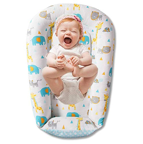 Premium Baby Nest - Durable Cotton Blend Newborn Lounger - Soft Portable Co Sleeper Baby Bed - Perfect for Co-Sleeping and Travelling, Safari Animals