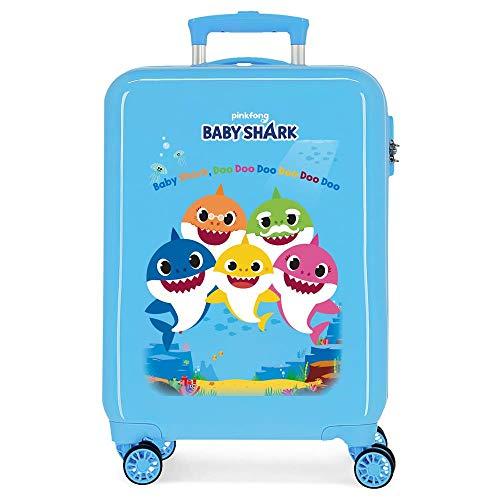 Baby Shark Shark Family Trolley cabina Azzurro 38x55x20 cms Rigida ABS Chiusura a combinazione numerica 34L 2,6Kgs 4 doppie ruote Bagaglio a mano