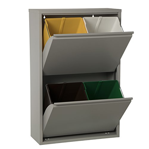 DRW Papelera Vertical de Reciclaje de 4 Cubos Plateado
