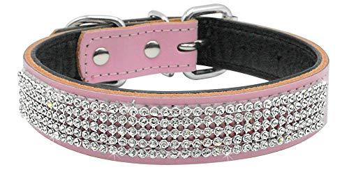 N/F Haustier Hundehalsband Bling Strass Hund gepolstert echte Lederhalsbänder Diamant besetzt für kleine Hunde Chihuahua Halsband