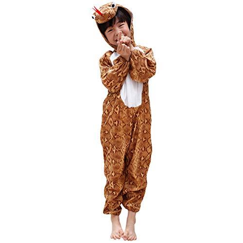 LPATTERN Baby/Kinder Jungen/Mädchen Cosplay Overall Tierkostüm Bühne Kleidung Spiel Kostüm Cartoon Jumpsuit mit Kapuze- Tier Motiv Kinderkostüm, Schlange, 110/116( Label:120CM)