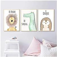 漫画の動物のポスター壁の写真ライオンヘッジホッグクロコダイル保育園キャンバス絵画壁アート写真赤ちゃんの女の子の部屋の装飾