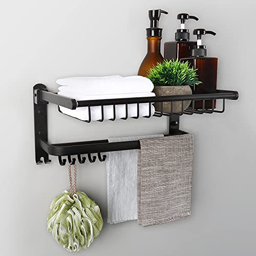 LeFroom Bathroom Double Towel Rack, Folding Towel Shelf with Two Towel Bars and Movable Hooks, 15.7-inch Aluminum Alloy Matte Black Towel Hanger, Punch-Free or Wall Mounted for Bathroom, Kitchen
