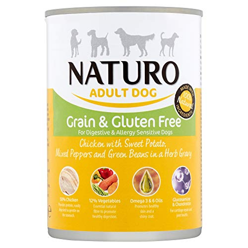 Naturo - Cibo per Cani Adulti Grain & Glutem Free con Pollo, Patata Dolce, Peperoni, Fagiolini e in Salsa di Erbe - Pacco da 12 x 390gr - Totale 4680gr